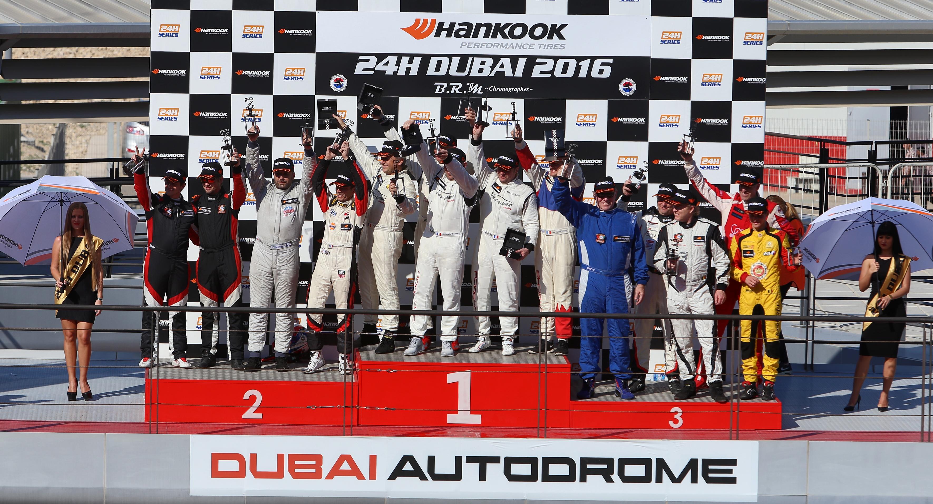 Podium de la catégorie SP2 des 24h Dubai 2016